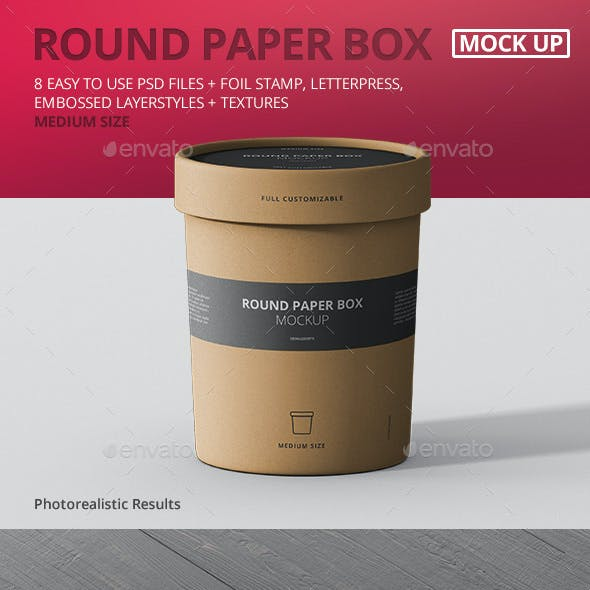 Paper Box Mockup Round - Medium Size