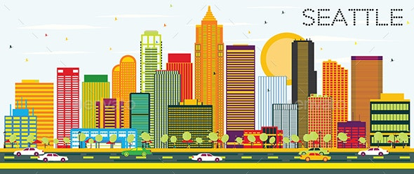 Abstract Seattle Skyline with Color Buildings. - Buildings Objects