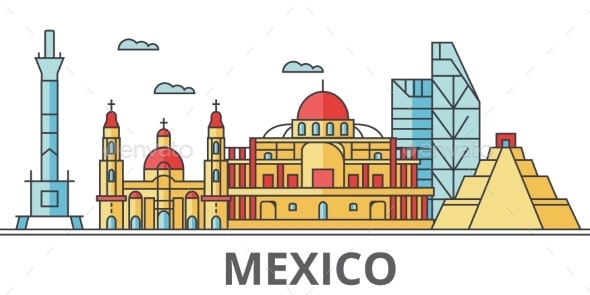 Mexico City Skyline: Buildings, Streets - Buildings Objects