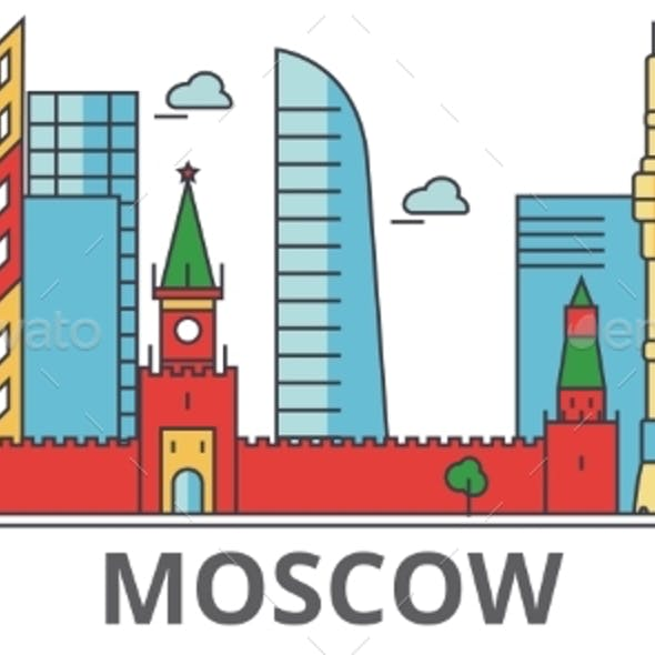Moscow City Skyline: Buildings, Streets