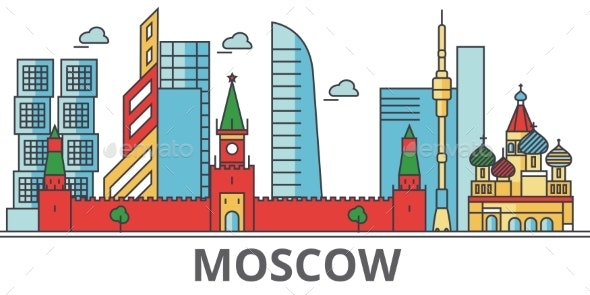 Moscow City Skyline: Buildings, Streets - Buildings Objects