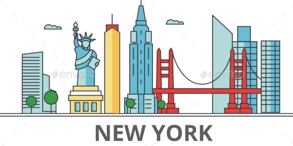 New York City Skyline: Buildings, Streets - Buildings Objects