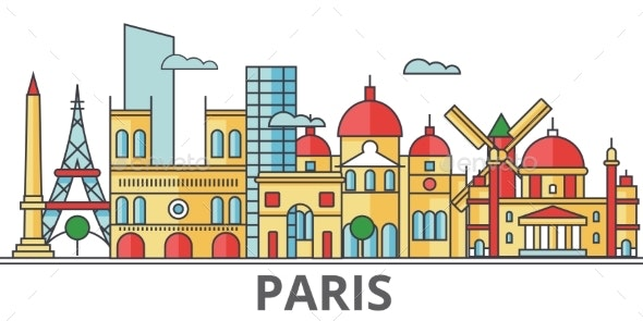 Paris City Skyline: Buildings, Streets, Silhouette - Buildings Objects