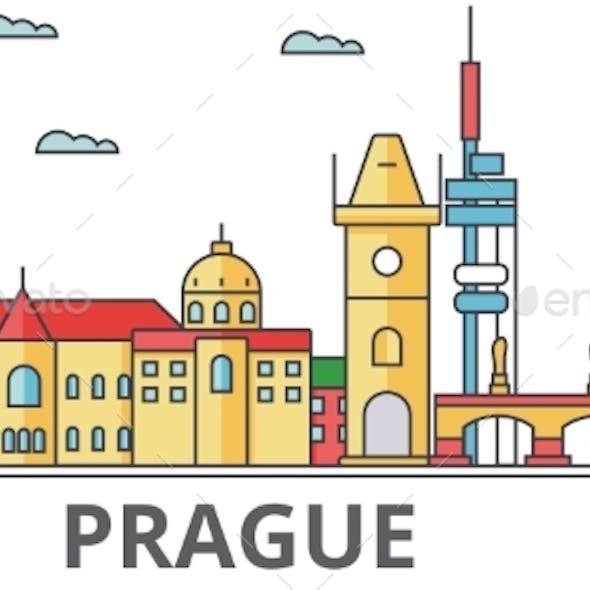 Prague City Skyline: Buildings, Streets
