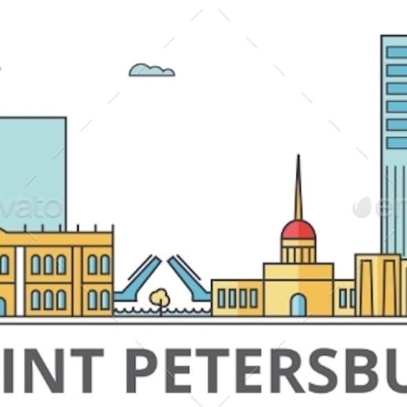 Saint Petersburg City Skyline: Buildings, Streets