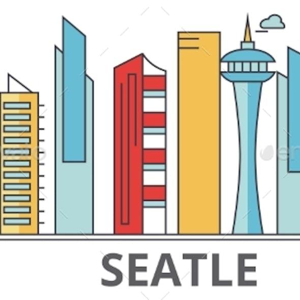 Seattle City Skyline: Buildings, Streets
