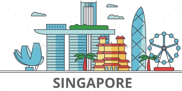 Singapore City Skyline: Buildings, Streets - Buildings Objects