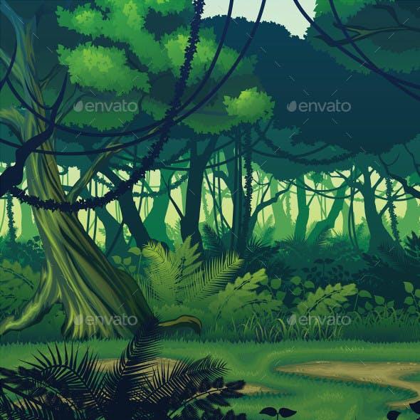 Horizontal Seamless Background with Deep Jungle