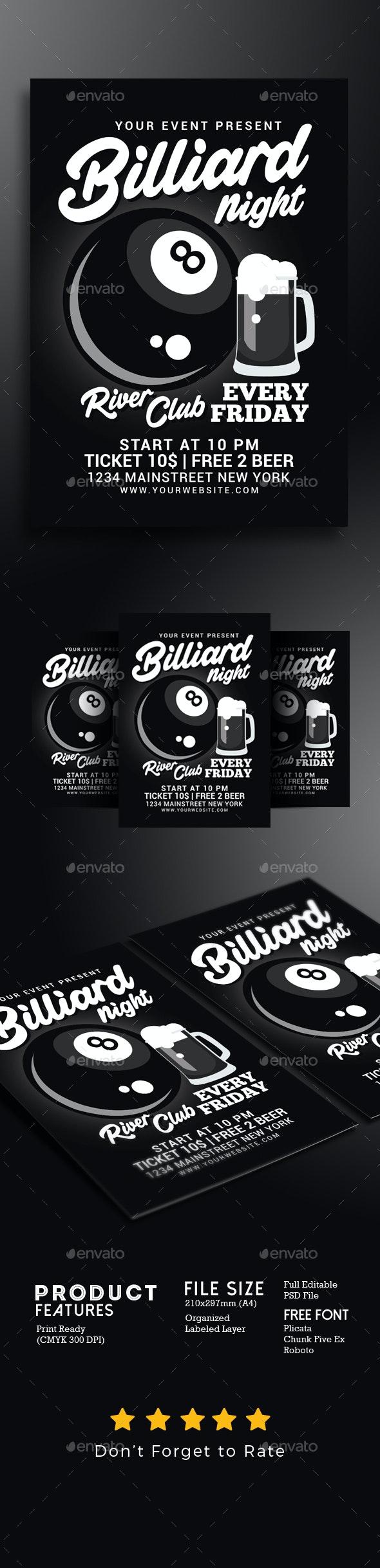Billiard Night Flyer - Events Flyers