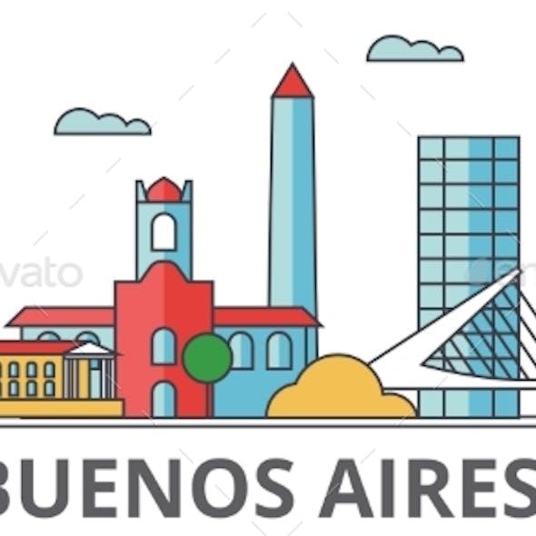 Buenos Aeros City Skyline: Buildings, Streets