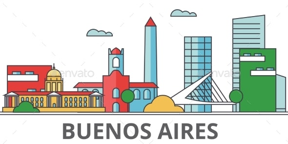 Buenos Aeros City Skyline: Buildings, Streets - Buildings Objects