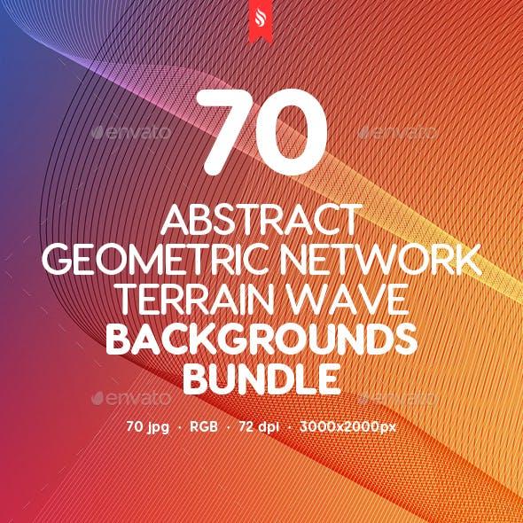 70 Geometric Network Terrain Wave Backgrounds Bundle