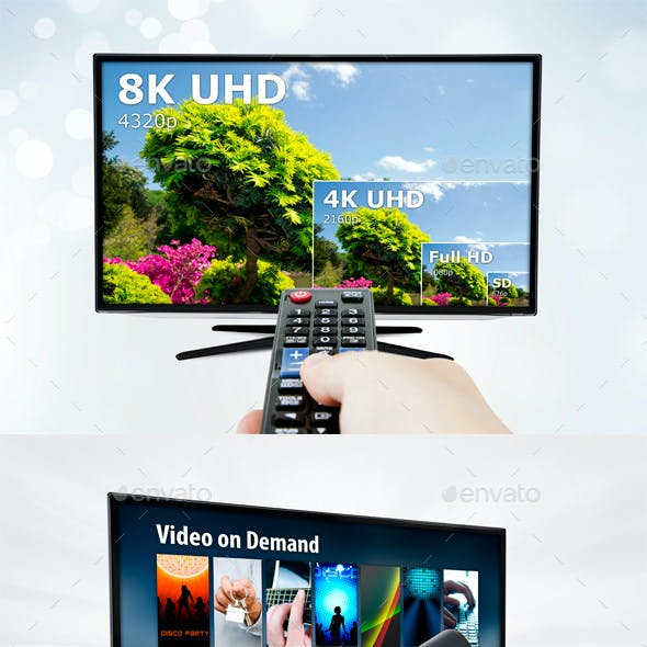 3 mockups of Smart TV with Remote Controls and Backgrounds