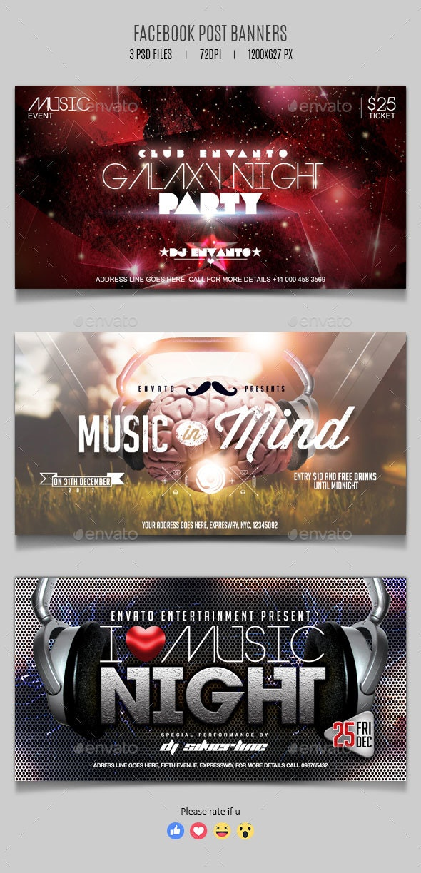 Electronic Music Party - Facebook Post Banner Templates - Social Media Web Elements