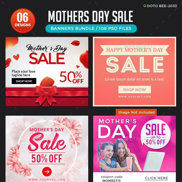 Mother's Day Banners Bundle - 6 Sets - 108 Banners