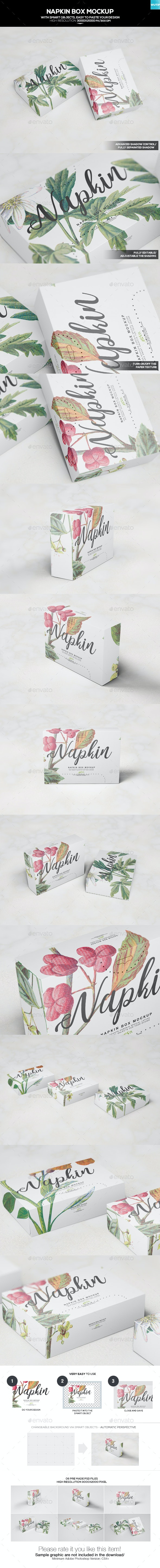 Napkin Box Mockup - Miscellaneous Packaging