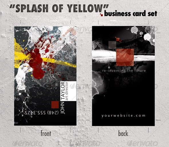 """Business card template """"Splash of Yellow"""" - Creative Business Cards"""