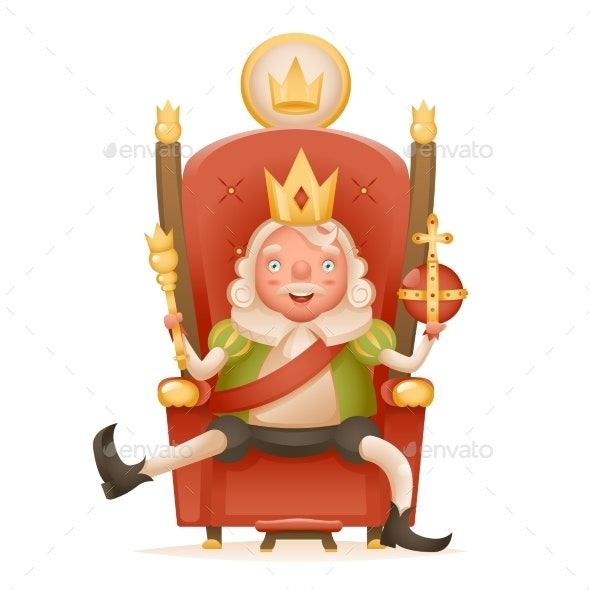 Cute Cheerful King Ruler on Throne Crown on Head - People Characters
