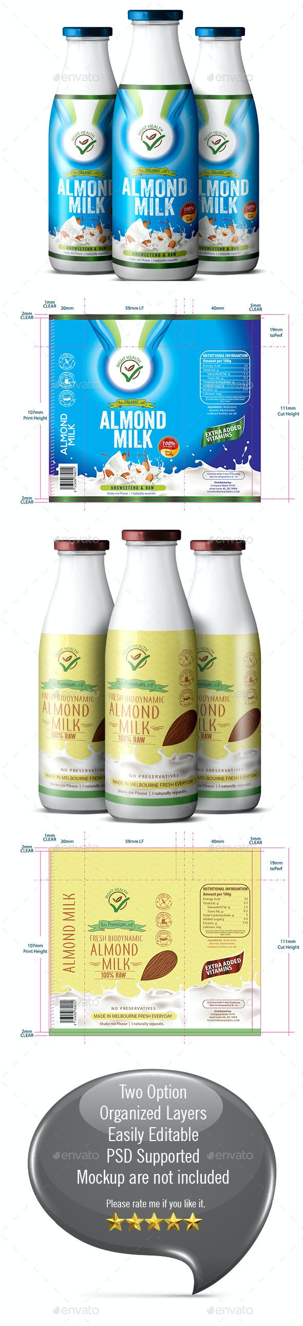 Almond Milk Label Template - Packaging Print Templates