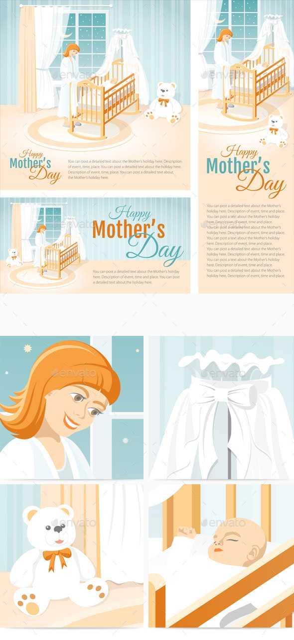 Banners with the Mother and the Child in the Cot. Happy Mother's Day. - Miscellaneous Seasons/Holidays