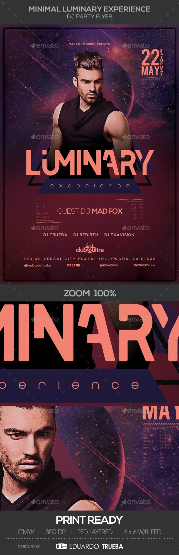 Minimal Luminary Experience Dj Party Flyer - Clubs & Parties Events
