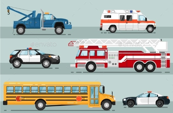 City Emergency Transport Isolated Set - Man-made Objects Objects