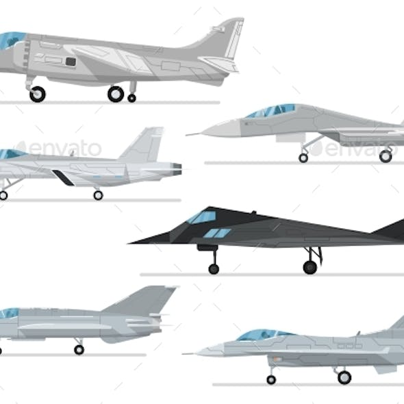 Military Jet Aircraft Isolated Vector Set