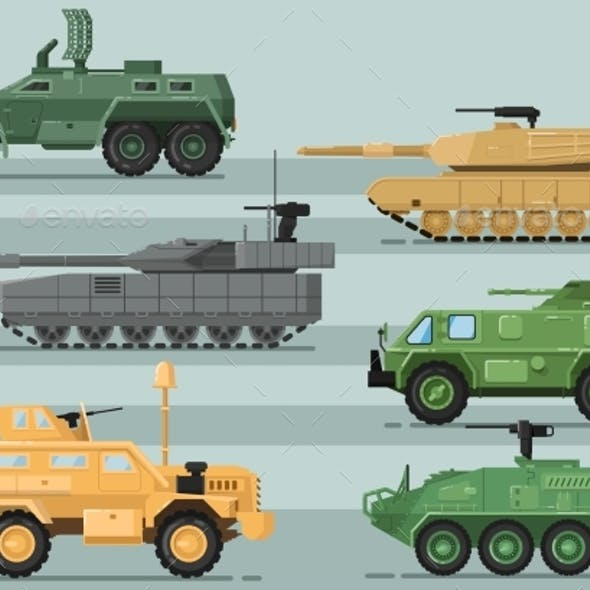 Modern Military Technics Isolated Vector Set