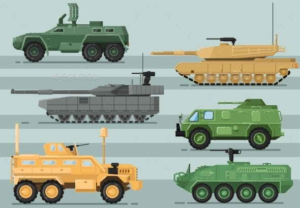 Modern Military Technics Isolated Vector Set - Man-made Objects Objects