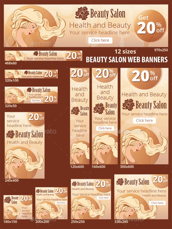 Web Banners Set for Beauty Salon - Banners & Ads Web Elements