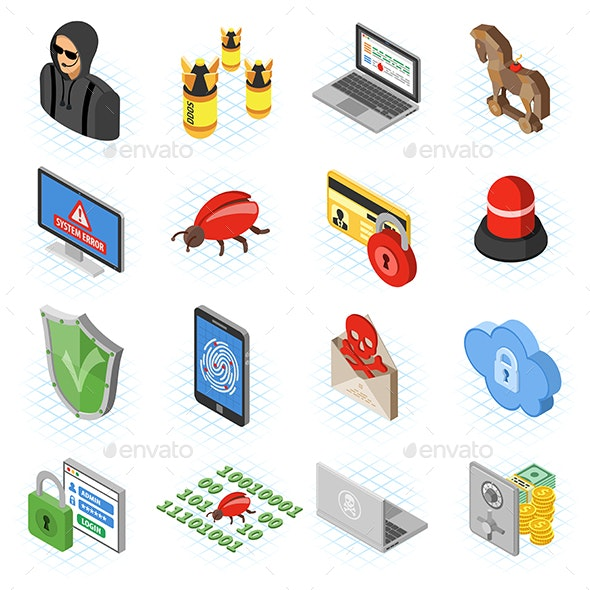 Internet Security isometric Flat Icon Set - Web Technology