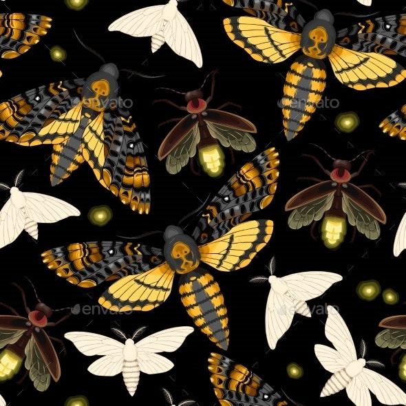 Flying Moths Seamless - Miscellaneous Vectors