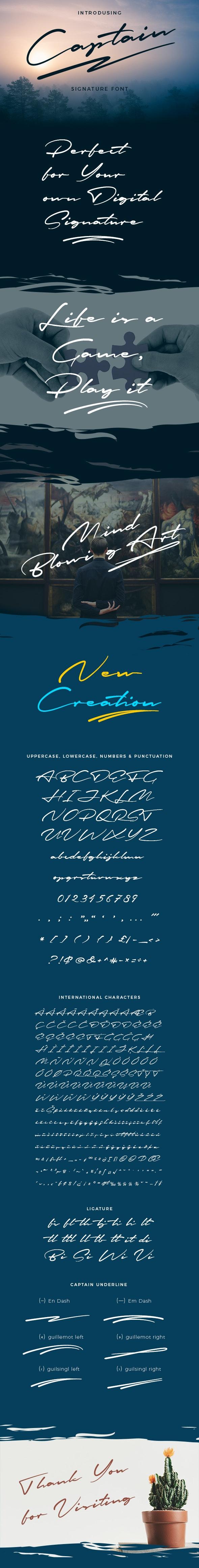 Captain Signature Brush Font - Calligraphy Script