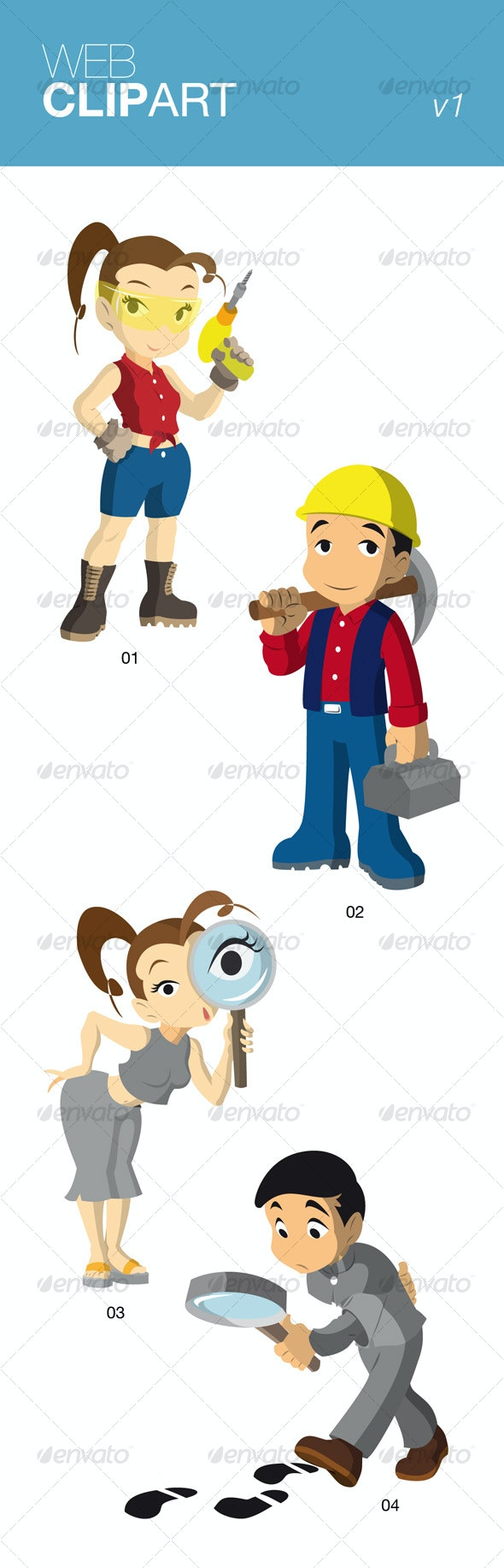 Web Clip Art Vol.1 - People Characters
