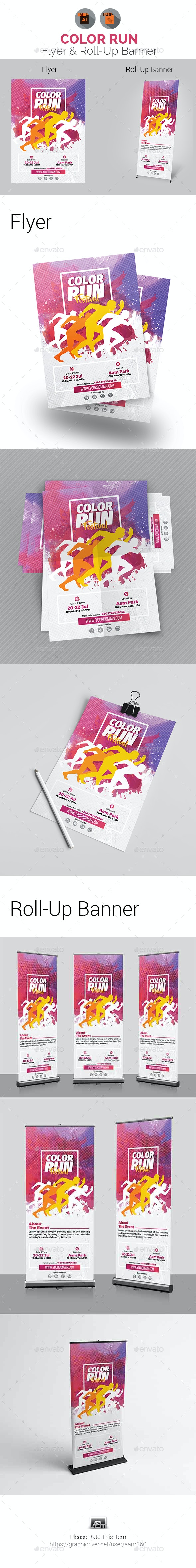 Color Run Festival Flyer & Roll-Up Banner - Print Templates