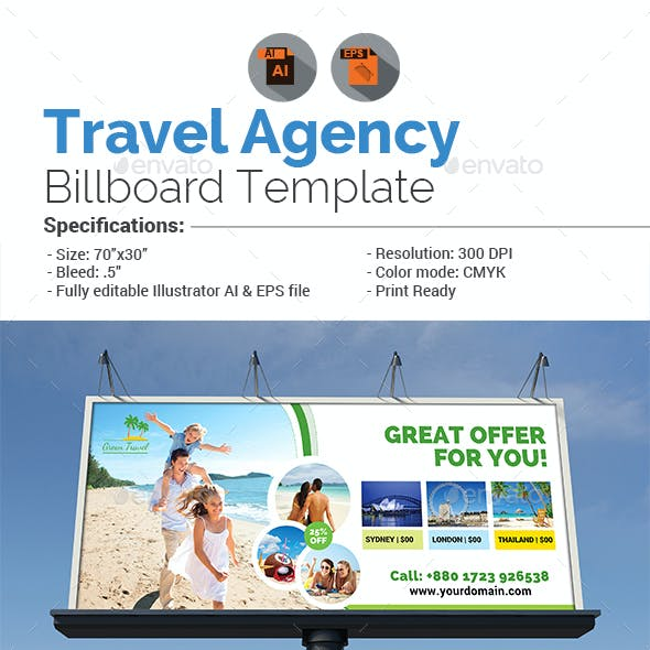 Holiday Tour & Travel Billboard Template