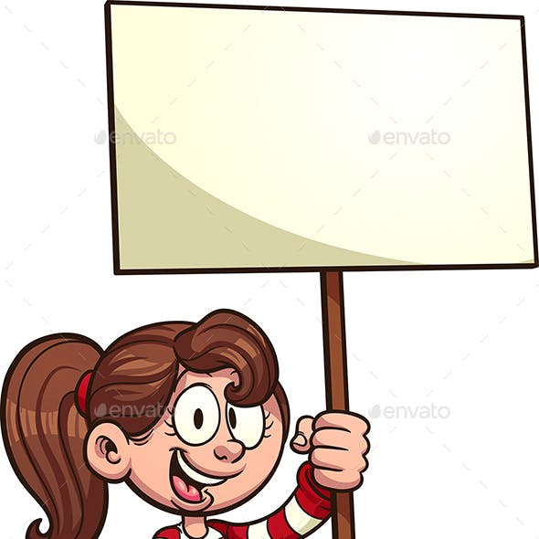 Girl with Sign
