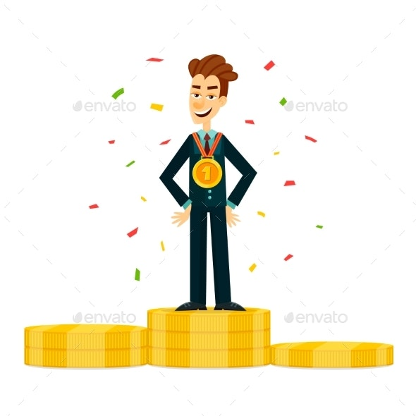 Happy and Proud Young Businessman or Manager - People Characters