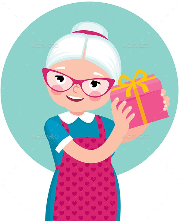Elderly Housewife Woman Shakes a Box with a Gift - People Characters