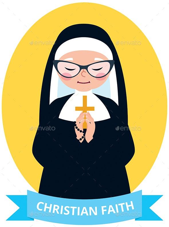 Emblem of an Old Christian Nun Praying - Religion Conceptual