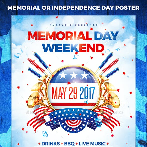 Memorial or Independence Day Party Poster vol.3