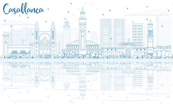 Outline Casablanca Skyline with Blue Buildings and Reflections - Buildings Objects