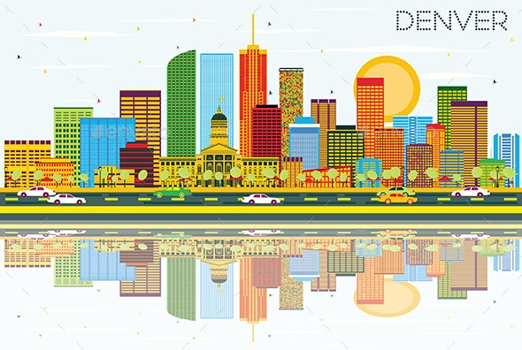 Denver Skyline with Color Buildings, Blue Sky and Reflections - Buildings Objects