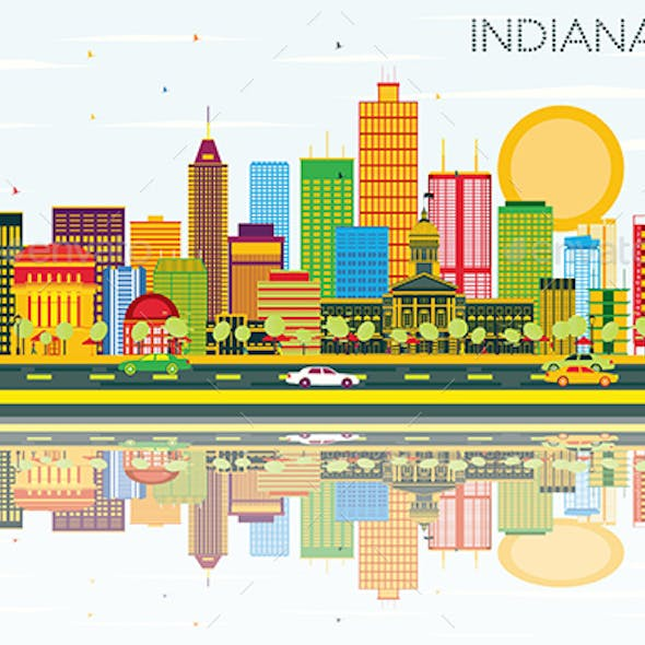 Indianapolis Skyline with Color Buildings, Blue Sky and Reflections