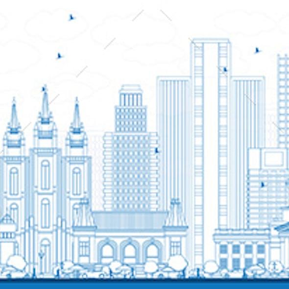 Outline Salt Lake City Skyline with Blue Buildings