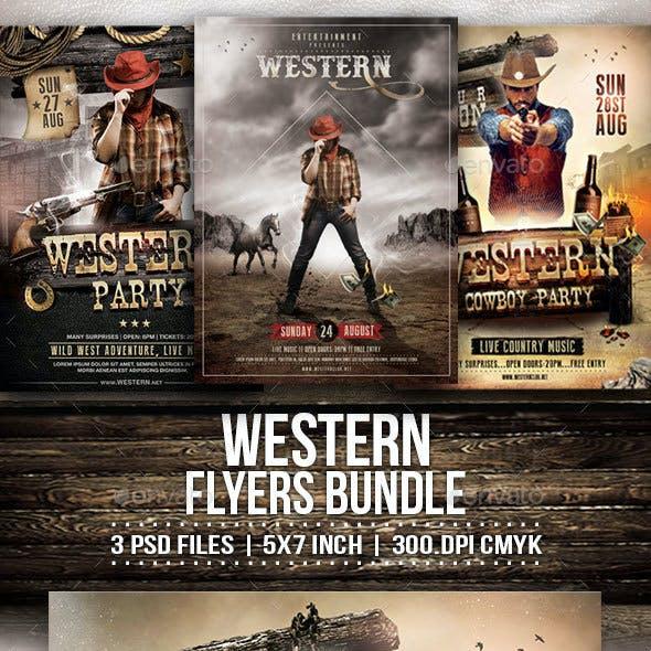 Western Party Flyers Bundle