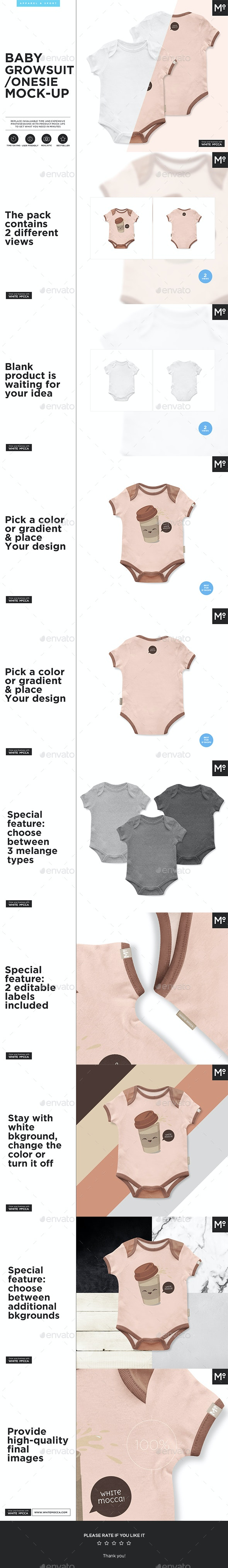 Baby Growsuit / Onesie Mock-up - Miscellaneous Apparel