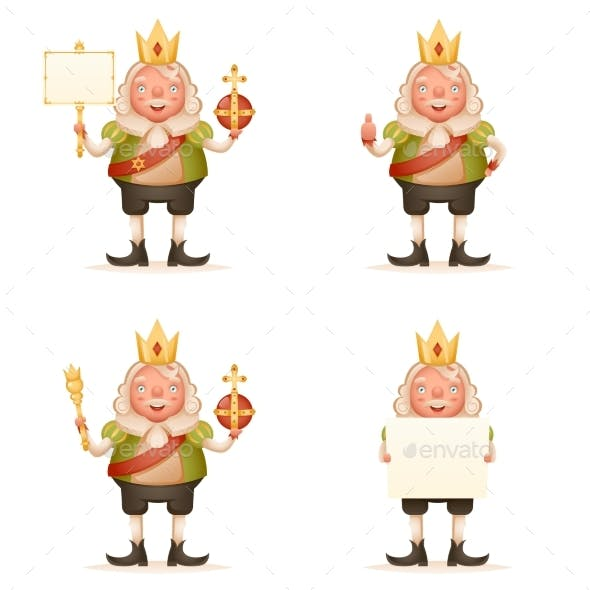 King Cheerful Ruler Blank Paper Thumbs Up