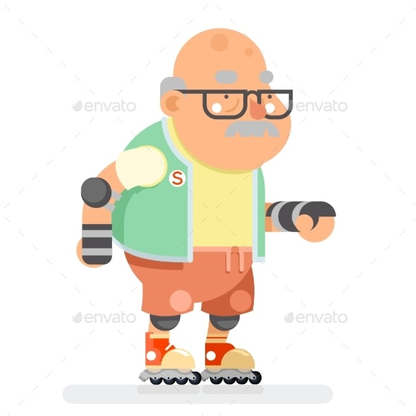 Roller Skate Adult Sports Healthy Grandfather - Sports/Activity Conceptual
