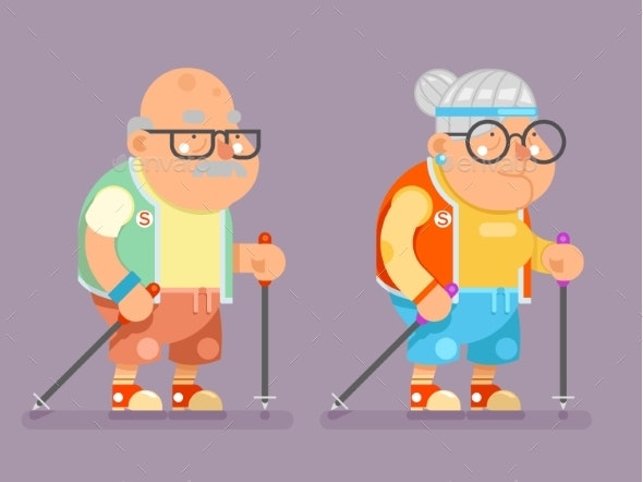 Sports Healthy Grandfather Granny Active Lifestyle - Sports/Activity Conceptual